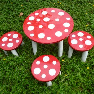 Children's Mushroom Table and 3 Stools-0