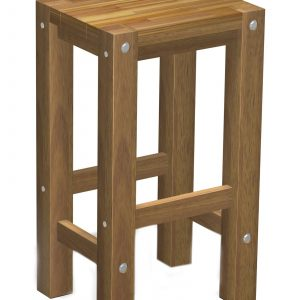 Sturdy High Stool Natural Oil Finished-0